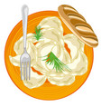 dish with dumpling and verdure of the parsley type vector image vector image