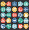 equalizer icons set on color circles black vector image vector image