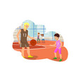 flat dad and son playing in basketball vector image vector image