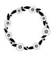 flower circle frame on white background vector image