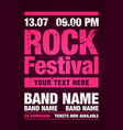 grunge rock festival flyer design template vector image