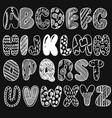 hand drawn chalk sketched doodle font set of vector image vector image