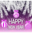 Happy New Year Silver spruce branches Pink vector image vector image