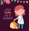happy thanksgiving day cute girl with pumpkin vector image vector image