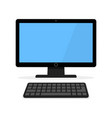 icon of a black computer monitor with a keyboard vector image vector image