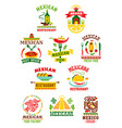 icons set for mexican fast food restaurant vector image vector image