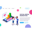 isometric social media marketing concept vector image vector image