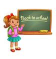 Little cute cartoon girl near school blackboard