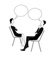man and woman sit on chairs and think with bubbles vector image vector image