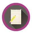 modern flat icon with sheet of paper and pensil vector image vector image