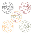 pizza labels craft line style vector image vector image