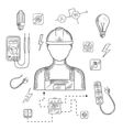 Professional electrician with tools and equipment vector image vector image