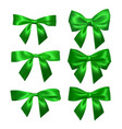 realistic green bow isolated on white element for vector image vector image