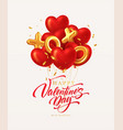 red glittering heart shape balloons and xoxo vector image vector image