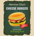 retro fast food cheeseburger poster vector image vector image