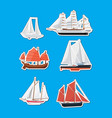sea sailboats side view isolated labels set vector image