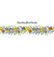 seamless spring flower border isolated on white vector image