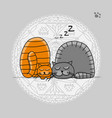 sleeping cats sketch for your design vector image vector image