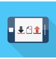 smartphone flat design download upload icon vector image