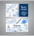 space explorer slogan horizontal cards hand drawn vector image