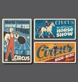 strongman horse ride and acrobats circus show vector image vector image