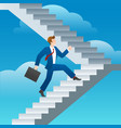 success business man stairs run vector image