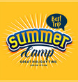 summer camp poster design in yellow color vector image