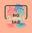 summer sale banner with palm trees on pink vector image