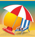summer umbrella sun glasses chair and hat over vector image vector image