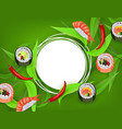 sushi banner with rolls ebi nigiri and chili vector image vector image