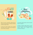 sweet hot fun summer banners set with accessories vector image vector image