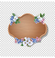 wooden sign with flowers vector image