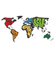 world map divided into six continents name of vector image