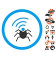 radio spy bug icon with dating bonus vector image