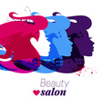 Beautiful watercolor acrylic girl silhouette vector image