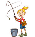 a girl fishing on white background vector image vector image