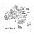 australia travel line icons map travel poster vector image vector image