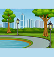 beautiful city park background with pool and stree vector image