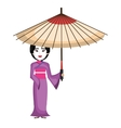 beautiful geisha japan character vector image vector image