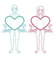 Boy and girl are holding hearts vector image vector image