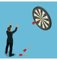 Businessman hitting the center of target Aiming vector image vector image