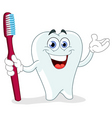 cartoon tooth with toothbrush vector image vector image