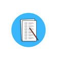 checklist task or quiz blue round icon vector image