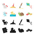 children toy blackcartoon icons in set collection vector image