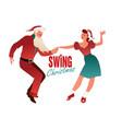 christmas couple dancing swing rock or lindy hop vector image vector image