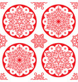 christmas folk pattern - red snowflake vector image vector image
