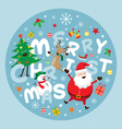 Christmas Label Santa Claus and Friends Lettering vector image vector image