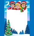 christmas topic frame 3 vector image
