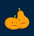 Couple Pumpkins for Halloween dark background vector image vector image
