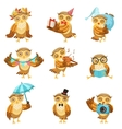 Cute Brown Owl Everyday Activities Icon Set vector image vector image